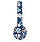 The Blue and White Mosaic Mirrored Pattern Skin Set for the Beats by Dre Solo 2 Wireless Headphones