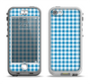 The Blue and White Woven Plaid Pattern Apple iPhone 5-5s LifeProof Nuud Case Skin Set