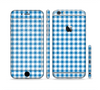 The Blue and White Woven Plaid Pattern Sectioned Skin Series for the Apple iPhone 6/6s