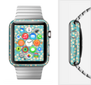 The Blue and Yellow Floral Pattern V43 Full-Body Skin Set for the Apple Watch