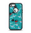 The Blue with Flying Tweety Birds Apple iPhone 5-5s Otterbox Defender Case Skin Set