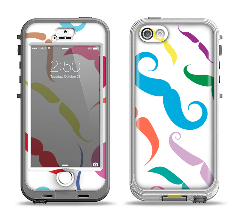 The Bold Colorful Mustache Pattern Apple iPhone 5-5s LifeProof Nuud Case Skin Set