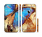 The Bright Blue Butterfly on Grunge Gold Surface Sectioned Skin Series for the Apple iPhone 6/6s Plus