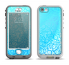 The Bright Blue Vector Spiral Pattern Apple iPhone 5-5s LifeProof Nuud Case Skin Set