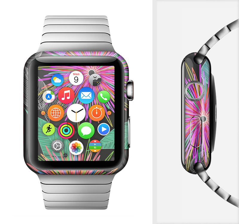 The Bright Colorful Flower Sprouts Full-Body Skin Set for the Apple Watch