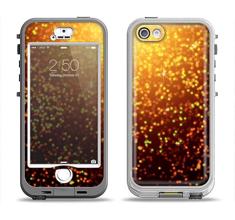 The Bright Gold Glowing Sparks Apple iPhone 5-5s LifeProof Nuud Case Skin Set