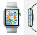 The Bright Light Blue Swirls with Butterflies Full-Body Skin Set for the Apple Watch