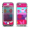 The Bright Pink Cartoon Owls with Flowers and Butterflies Apple iPhone 5-5s LifeProof Nuud Case Skin Set