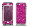 The Bright Pink Glitter Apple iPhone 5-5s LifeProof Nuud Case Skin Set