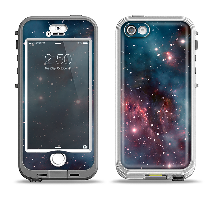 The Bright Pink Nebula Space Apple iPhone 5-5s LifeProof Nuud Case Skin Set