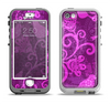 The Bright Pink & Purple Floral Paisley Apple iPhone 5-5s LifeProof Nuud Case Skin Set