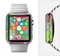 The Bright Pink and Green Flowers Full-Body Skin Set for the Apple Watch