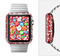 The Bright Red and White Floral Sprout Full-Body Skin Set for the Apple Watch