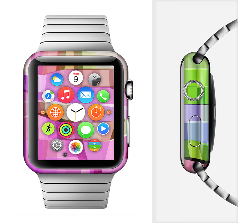 The Bright Translucent Wave Pattern V2 Full-Body Skin Set for the Apple Watch