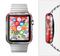 The Bright Unfocused White & Red Love Dots Full-Body Skin Set for the Apple Watch