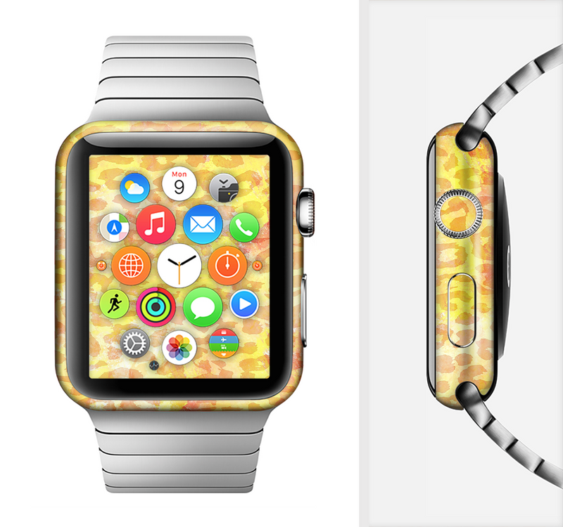 The Bright Yellow and Orange Leopard Print Full-Body Skin Set for the Apple Watch
