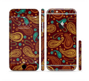 The Brown & Gold Paisley Pattern Sectioned Skin Series for the Apple iPhone 6/6s Plus