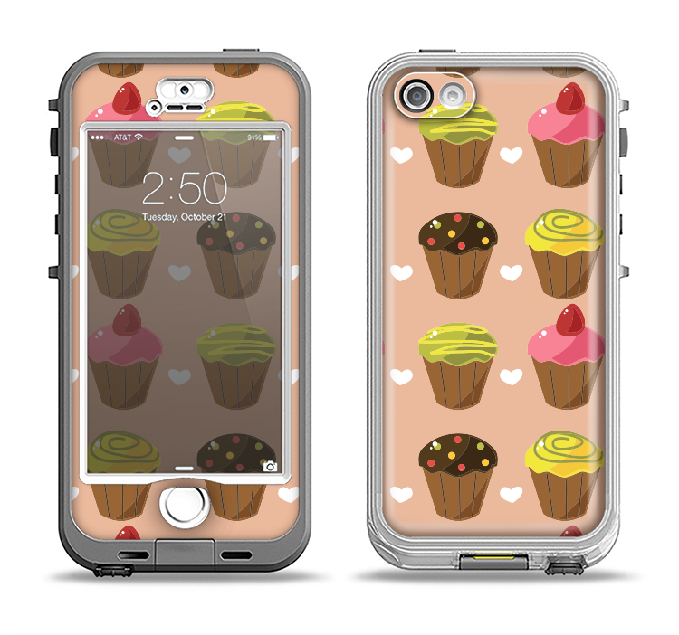 The Brown, Pink and Yellow Cupcake Collage Apple iPhone 5-5s LifeProof Nuud Case Skin Set