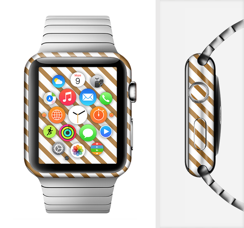 The Brown & White Striped Pattern Full-Body Skin Set for the Apple Watch