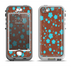 The Brown and Blue Floral Layout Apple iPhone 5-5s LifeProof Nuud Case Skin Set