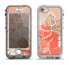The Brown and Orange Transparent Flowers Apple iPhone 5-5s LifeProof Nuud Case Skin Set