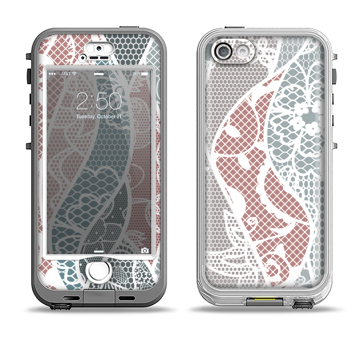 The Brown and Teal Lace Design Apple iPhone 5-5s LifeProof Nuud Case Skin Set