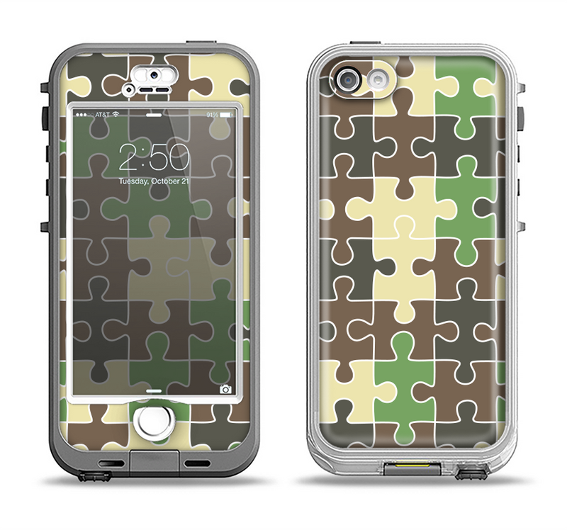 The Camouflage Colored Puzzle Pattern Apple iPhone 5-5s LifeProof Nuud Case Skin Set