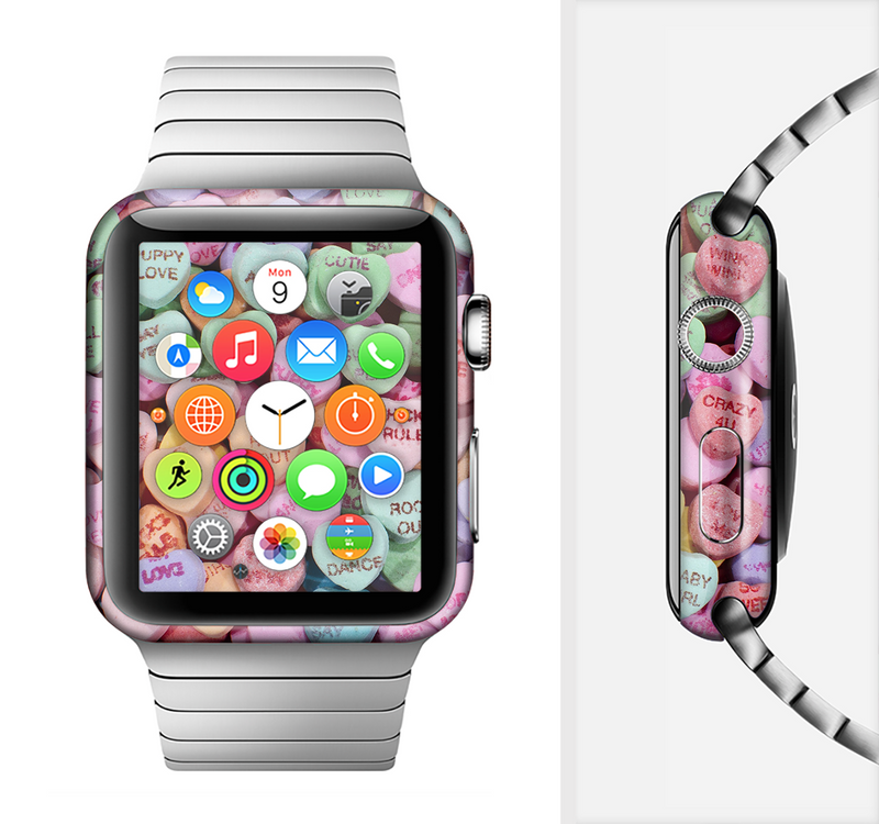 The Candy Worded Hearts Full-Body Skin Set for the Apple Watch