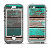 The Chipped Teal Paint On Wood Apple iPhone 5-5s LifeProof Nuud Case Skin Set
