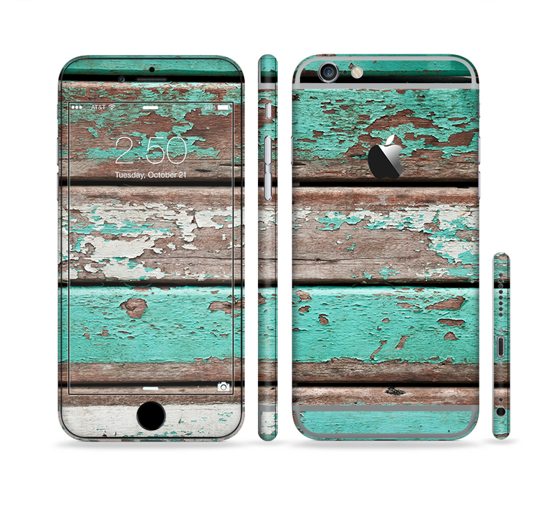 The Chipped Teal Paint On Wood Sectioned Skin Series for the Apple iPhone 6/6s Plus
