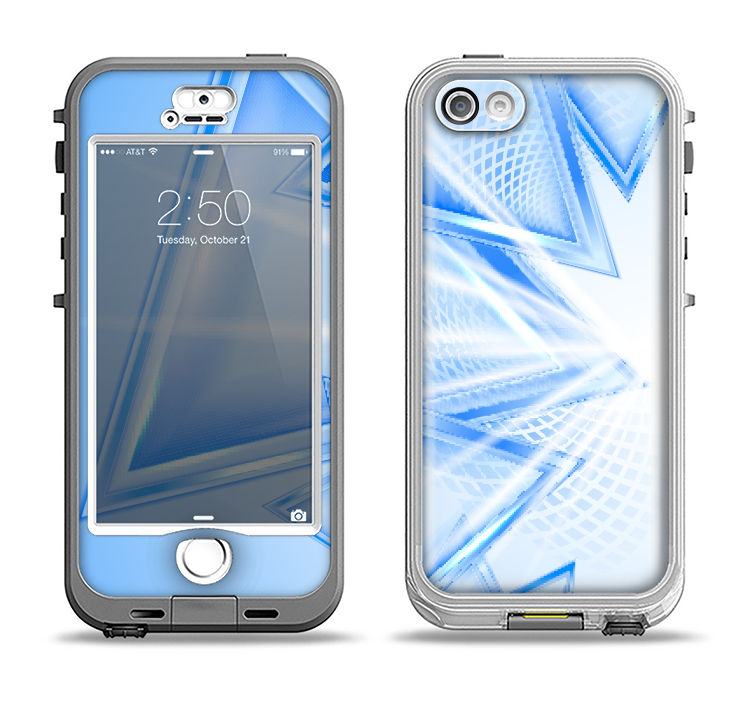 The Clear Blue HD Triangles Apple iPhone 5-5s LifeProof Nuud Case Skin Set