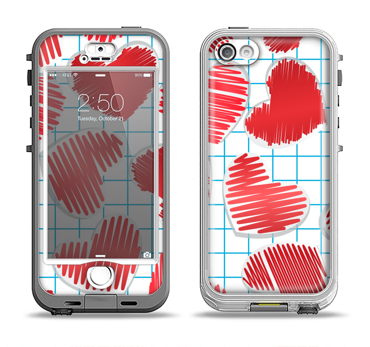 The Colored Red Doodle-Hearts Apple iPhone 5-5s LifeProof Nuud Case Skin Set