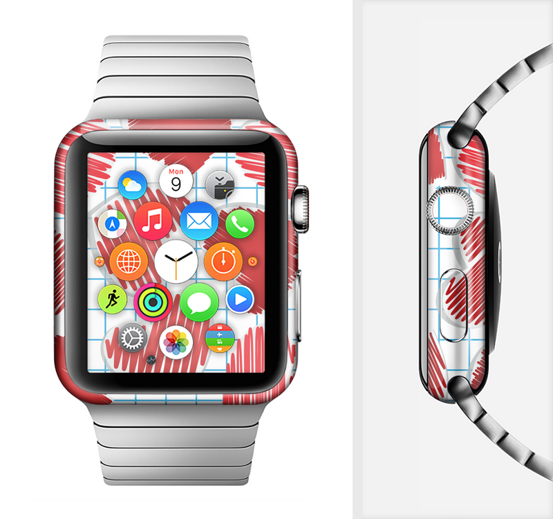 The Colored Red Doodle-Hearts Full-Body Skin Set for the Apple Watch