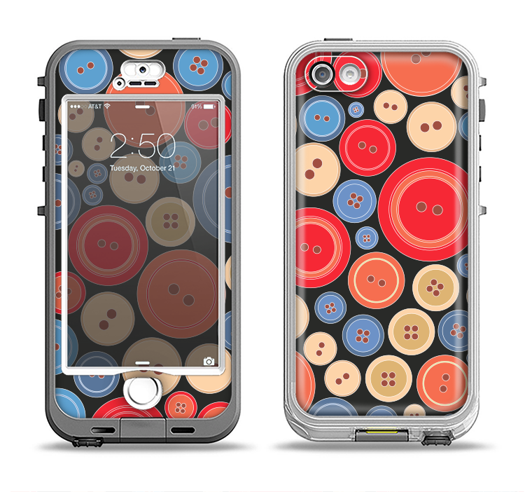 The Colored Vector Buttons Apple iPhone 5-5s LifeProof Nuud Case Skin Set