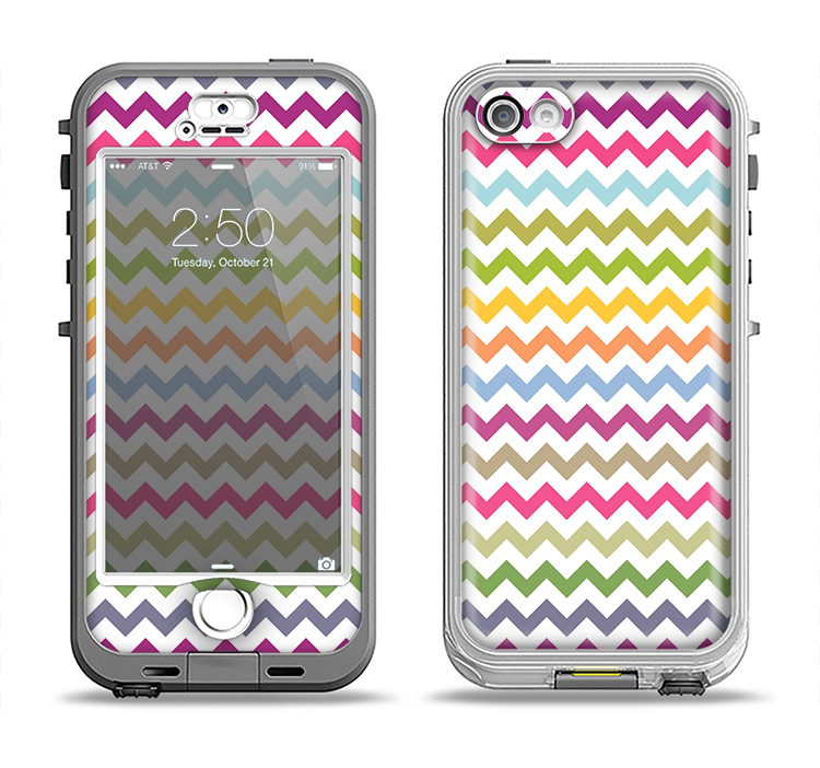 The Colorful Chevron Pattern Apple iPhone 5-5s LifeProof Nuud Case Skin Set