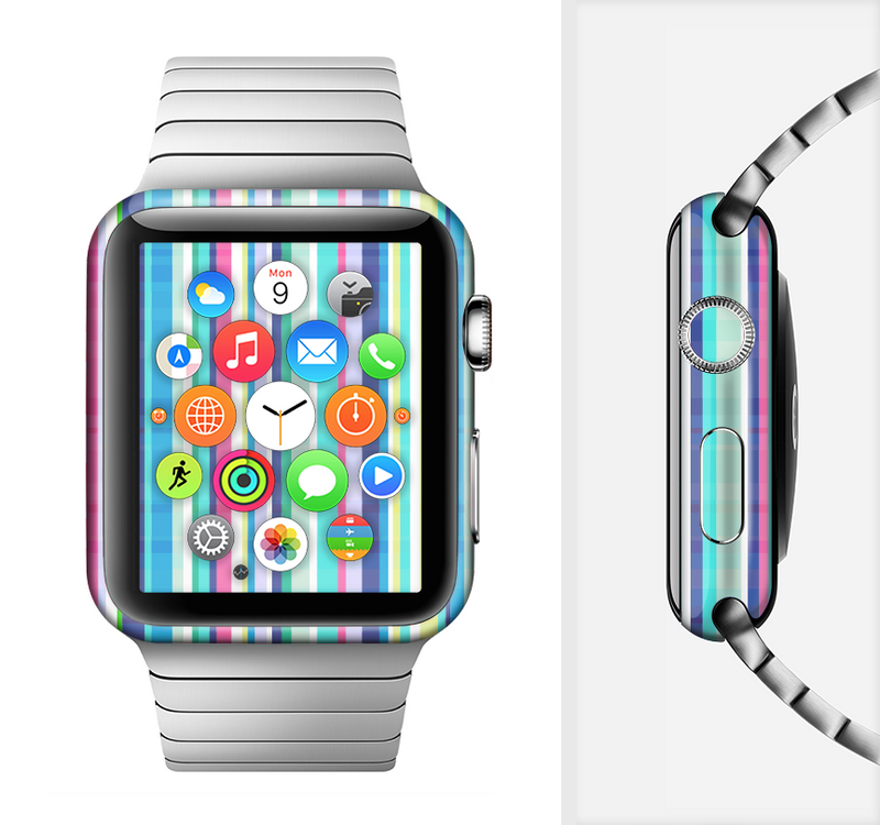 The Colorful Highlighted Vertical Stripes  Full-Body Skin Set for the Apple Watch