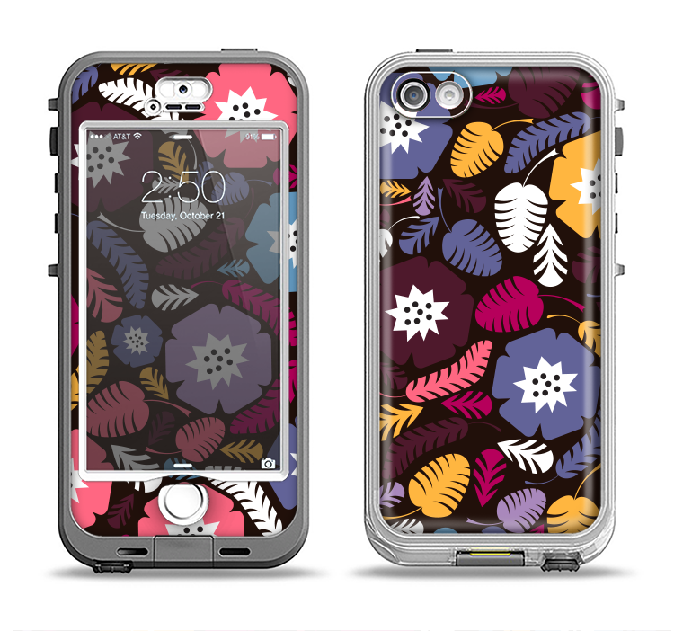 The Colorful Hugged Vector Leaves and Flowers Apple iPhone 5-5s LifeProof Nuud Case Skin Set