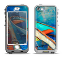The Colorful Pastel Docked Boats Apple iPhone 5-5s LifeProof Nuud Case Skin Set