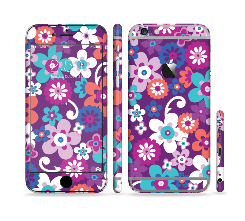 The Colorful Purple Flower Sprouts Sectioned Skin Series for the Apple iPhone 6/6s Plus