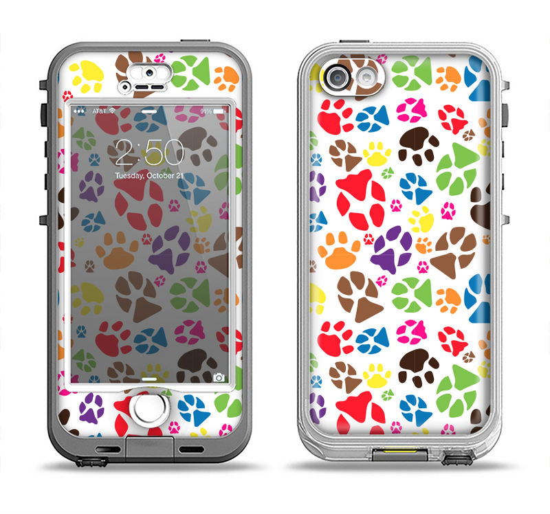 The Colorful Scattered Paw Prints Apple iPhone 5-5s LifeProof Nuud Case Skin Set