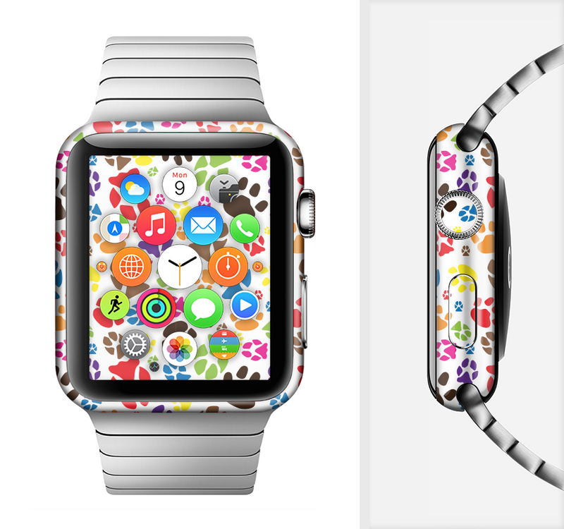 The Colorful Scattered Paw Prints Full-Body Skin Set for the Apple Watch