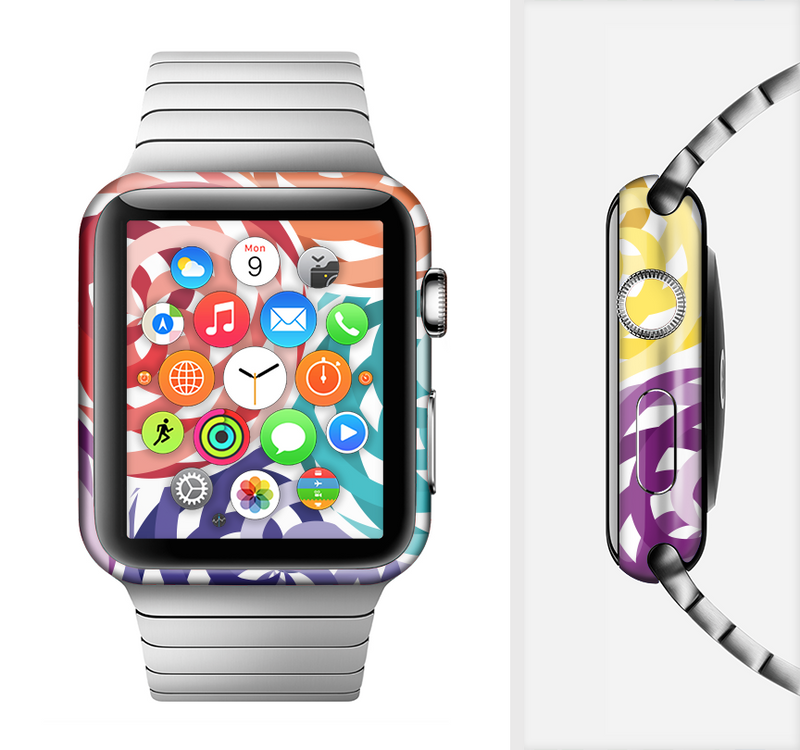 The Colorful Spiral Eclipse Full-Body Skin Set for the Apple Watch
