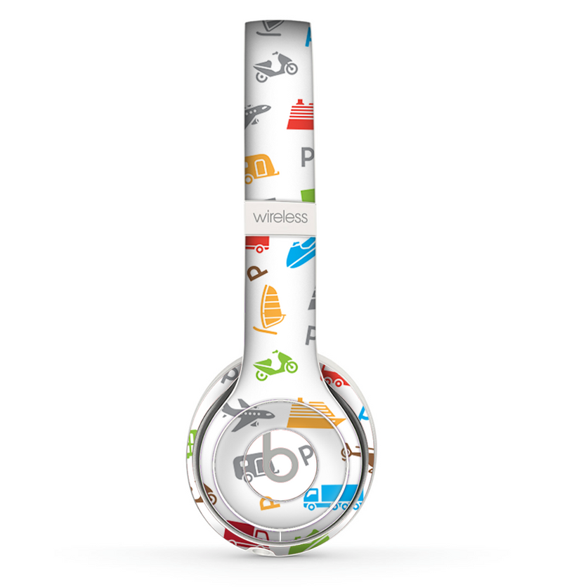 The Colorful Travel Collage Pattern Skin Set for the Beats by Dre Solo 2 Wireless Headphones