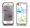 The Colorful Vintage Bike on White Pattern Apple iPhone 5-5s LifeProof Nuud Case Skin Set