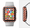 The Coral & Black Sketch Chevron Full-Body Skin Set for the Apple Watch