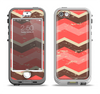The Coral & Brown Wide Chevron Pattern Vintage V1 Apple iPhone 5-5s LifeProof Nuud Case Skin Set