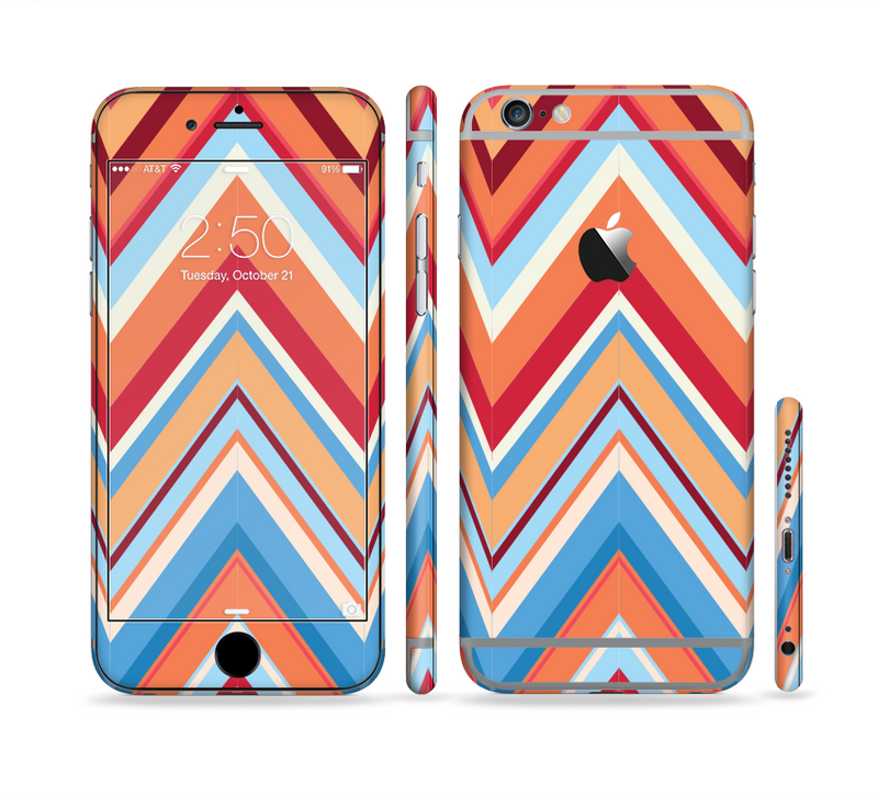 The Coral & Red Chevron Zig Zag Pattern V43 Sectioned Skin Series for the Apple iPhone 6/6s Plus