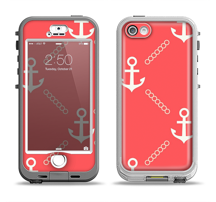 The Coral & White Vintage Solid Color Anchor Linked Apple iPhone 5-5s LifeProof Nuud Case Skin Set