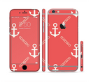 The Coral & White Vintage Solid Color Anchor Linked Sectioned Skin Series for the Apple iPhone 6/6s Plus