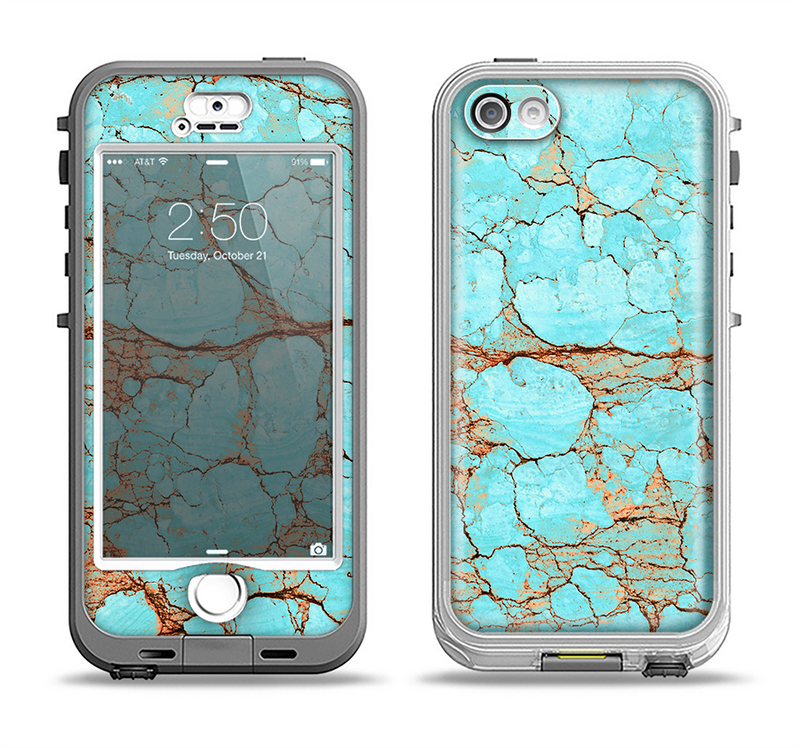 The Cracked Teal Stone Apple iPhone 5-5s LifeProof Nuud Case Skin Set